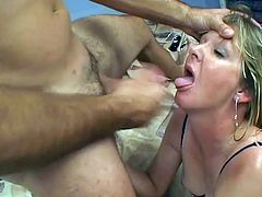 Salacious blonde mom Jules wearing stockings gets face-fucked by her man. Then she lets him eat her cunt and they have ardent doggy style banging.