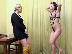 Busty and submissive 22 years old Ewelina is a absolutely perfect woman. She has wonderful natural big tits with nice brown nipples, her pussy is clearly shaved and all her body is strong and flexible. It's a real pleasure to train so beautiful woman! Watch this submissive hottie performs nude exercises, trained as pony girl, watch she's crawling and jumping, nude and sweaty... And finally she becomes horny and masturbates her tight submissive pussy!