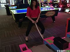 Watch this hottie taking that large cock of her friend in her sexy and small mouth during a pool table game in Team Skeet sex clips.