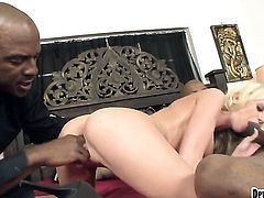 Glammed up harlot wants this hardcore fuck session with hard cocked guy to last forever
