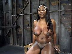 This petite ebony siren is going through some ridiculous perversion! Honey loves it rough and she enjoys what she is feeling in this act of sadism!