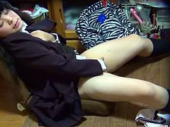 Lovely Japanese schoolgirl gets caught playing with her tight pink pussy and assuming very hot poses in this amazing voyeur video. She definitely knows how to put a hell of a show!