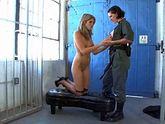 Kara Price is a skinny teen girl who stands still in her bare skin in front of lesbian prison guard Roxanne Hall. She gets her tiny tits licked before she take strap-on dildo doggy style.