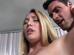 Mind blowing blonde hooker with outstanding booty chokes on fat cock giving sloppy blowjob. One dude eats her asshole and fucks her tight pussy doggystyle.