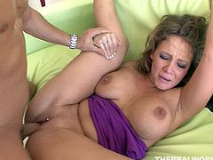 Full bodied mommy rides solid shaft in reverse cowgirl fuck position. She then sucks hard dick deepthroat while getting her pussy finger fucked. Later on she is fucked hard missionary style.