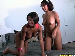 Insatiable black cutie Imani Rose and her lustful GF are having fun with some guy indoors. They make out with the dude and suck his weiner and then enjoy jumping on it by turns.