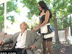 Watch this hot and sexy maid in this hardcore video, where she is giving hot and extra services to her owner by letting him lick her pussy and than he fucks her hard and rough.Amazing maid services.
