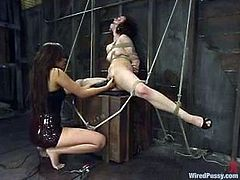 Annie Cruz ties horny bitch Pinky Lee up and stuffs a vaginal speculum into her cunt. Then she attaches wires to her body and humiliates the skank in many ways.