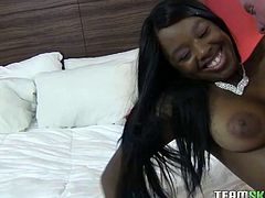 She rides his cock with her wet nagging pussy. Then he fucks this ebony teen atop and then from behind in steamy Team Skeet interracial sex clip!
