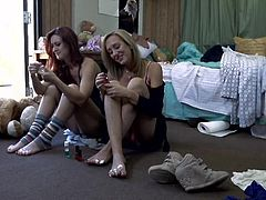 It's a messy bedroom and these girls are not about to clean it up. The babes have a boring conversation and then get to action. The blonde undresses completely and lays in the floor with her thighs spread, waiting for her girlfriend to lick and pleasure her pussy. Want to see some more?