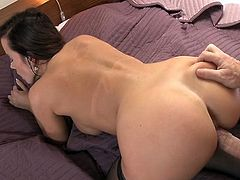 In the very beginning this marvelous brunette babe sucked her lovers prick after he licked her shaved pussy followed with nice and smooth screwing