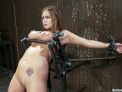 This curvaceous chick loves pain and humiliation. In this video she gets her tits tortured and pussy toyed deep with big dildo.