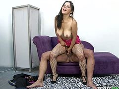 Watch this slutty whore riding her friend's large and fat cock in front of the camera for money in Team Skeet sex clips.