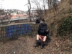 This hot Czech babe was smoking a cigarette when an old man approached her. He tricked her into showing him her titties and he turned her on by licking them. They went further into the park and fucked.