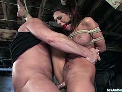 Busty slave Rachel Starr get her tight muff poked in BDSM