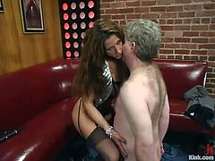 This slender and kinky lust Kym Wilde is so fucking amazing! She lures this mature man in her ropes and starts torturing him so damn hard.