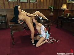 Smoking hot brunette will torture her assistant