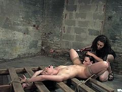 Two girls are dominated here and also forced to ride a sybian and get their buttholes toyed in what is a wicked lesbian BDSM threesome.