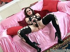 Watch this horny and busty babe Leona Queen getting pleased by her boyfriend in the bedroom in Harmony Vision sex clips.