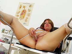 She's a hot nurse, a bit chunky and with a tight pussy that needs some stretching! This bitch just took a break from raising her patients cocks and now spends some solo time for us. She makes herself comfortable on the gynecologist chair, spreads wide those hot thighs and fucks herself with a dildo and her fingers