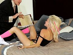 Evan gets nasty with this much younger blonde woman. He is a dirty old man to her but she still grabs his cock and pulls it out of his suit bottoms to jack him off. Watch as he rubs his dick all over her warm body.