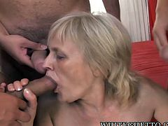 It's granny's lucky day! She gets to fuck just the way she likes it, hard and with many men! All these horny granny lovers, got around and fed our granny Adriana with cocks! She went down on her knees, like a fucking slut and started to suck them hard. Damn, she's experienced and her saggy lips can still take it!