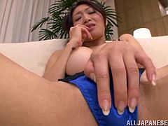 Curvaceous Japanese woman with big nipples shows and plays with her pussy lying on a sofa. Then she gives hot blowjob to two guys. Then these dudes cum on her pussy and she starts to finger herself.