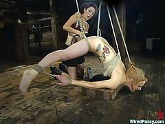 Redhead slut Pinky Lee is having some good time with Princess Donna Dolore in a cellar. Donna ties the whore and torments her brutally in many ways.