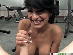 Dirty minded black haired mommy goes wild on cam. Mature bitch gives her partner mind blowing titjob and harshly tugs his shaft with her moist hands.