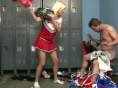 Lovely blonde girl in cheerleader uniform quarrel with a guy in a locker room. Then she takes the uniform off and gets her feet licked. She also makes a guy cum with her hands.
