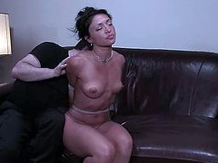 Gorgeous and sexy babe comes in the office for the trials. The team is looking for a girl to slave her for BDSM and seems like they have found one.