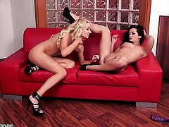 Blonde Victoria Puppy and Tess Lyndon show their love for lesbian sex