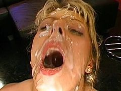 She is naughty and eager to have all their loads dripping gently down her face