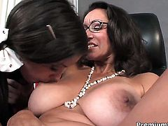 Bonnie Skye with huge jugs and Persia Monir are so fucking horny in this lesbian action