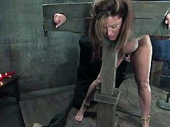 Superb brownie with big boobs gets tied up and put in the stocks. Later on she gets her tits and pussy clothespinned. Then she also gets toyed with a wooden dildo.