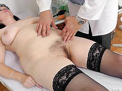 Blanka needs a pussy exam so she pays a visit to her local doc. The old perverted doc starts out by measuring her and then he asks the bitch to lay in her back for the vaginal examination. He puts on his medical gloves and begin by gently gaping her snatch. Those pink pussy lips look in perfect condition!
