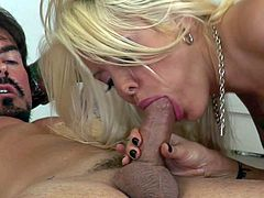 Stunning blonde bimbo Helly Mae Hellfire with huge stunning knockers and great hunger for cock in awesome lingerie teases tattooed stud Dale Dabone and fucks with him all over the kitchen.
