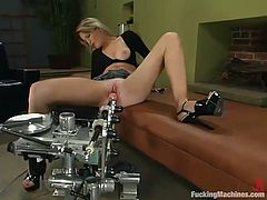Lewd blonde Jessica Sexin is having fun with a fucking machine indoors. She gets her pussy pounded by the device and gets multiple orgasms.