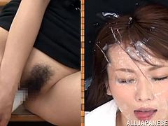 Like seeing Nippon beauties masturbating or getting glazed? If you do then check this out. On the left we have Hana playing with herself and on the right we have the same pretty face being facialized. The men give her angelic beauty a few big loads of cum, covering her face in jizz. That's what she deserves!