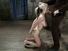 Tied Up Blonde Haley Cummings Forced to Eat Pussy and Suck Cock