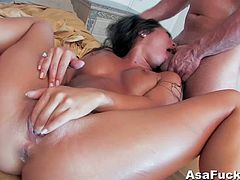 This is one hell of a scene that will leave you in aw. One of Asa's hardest and most intense ever! Watch this cock hungry bitch getting her shave tight cunt fucked hard and rough.