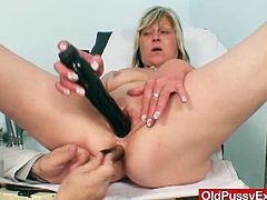 Old Pussy Exam brings you a nasty free porn video where you can see how a horny blonde mature dildos her cunt very hard into heaven before doing the same with her ass in front of her doctor.