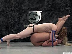 Madison Young and Kylie Worthy are struggling with each other on tatami. They fight with each other and then the winner pulls the loser by the nipples and fucks her vagina with a strapon.