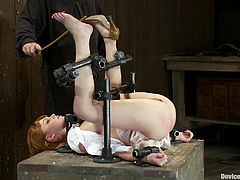 Amazing redhead girl lies on a big wooden box being tied up. Later on she get whipped and fingered. Surely, then she also gets toyed with a vibrator.