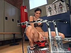 Hot dark-haired milf Ava Ramon is getting naughty in the locker room. She strokes her nice boobs and ass and then gets her coochie pounded by a fucking machine.