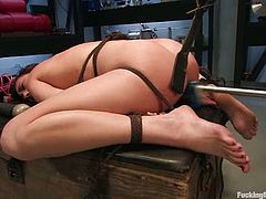 The tied up beauty Gwen Diamond gets her pussy fucked by a machine till she orgasms. And when a girl cums she tends to close her legs because pleasure is too much, and she can't do that today! Muahaha!