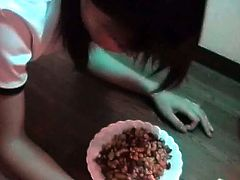 Young Asian is forced to eat food from a bowl like animal, while dude spanks her naked, nice butt. She is super naughty and he has to punish her for being so bad.
