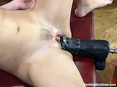 Salacious blonde chick Alana is testing a fucking machine indoors. She takes the device in her tight pussy and gets it drilled as hard as never before.