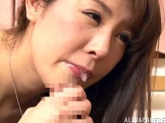 Man, this stunning Japanese milf knows what men want from her! She is spreading her fluids and now babe is naked with her fucker.