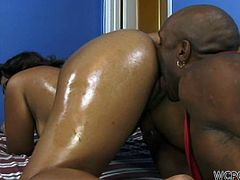 Sexy black chocolate babe Kim Treats gets hot oily massage from her ass loving boyfriend, She bends over in doggy style to get her phat juicy ass eaten.Enjoy!